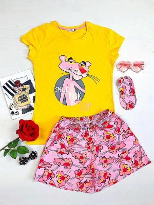 Pijama scurta Pantera roz dama de culoare galbena din bumbac