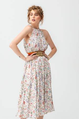 Rochie de ocazie de zi de vara eleganta cu imprimeu floral