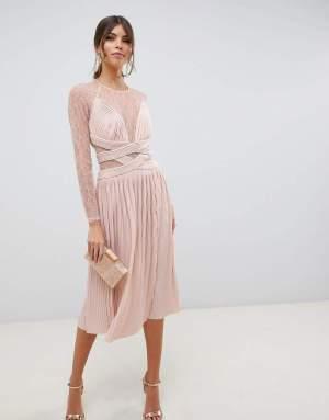 Rochie de ocazie eleganta cu pliseuri si dantela