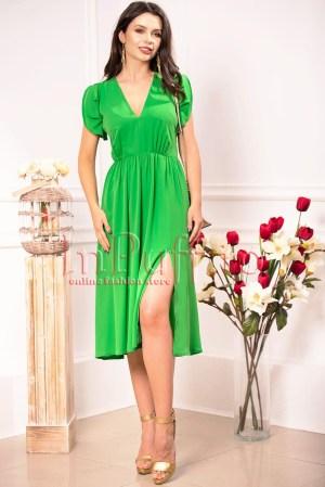 Rochie de ocazie eleganta verde din voal cu decolteu in V