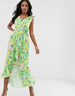 Rochie de ocazie petrecuta asimetrica si imprimeu colorat