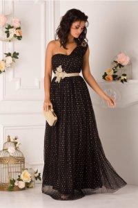 Rochie de seara eleganta lunga neagra cu buline aurii si broderie in talie