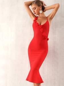 Rochie de seara eleganta tip sirena cu floricele aplicate Shein