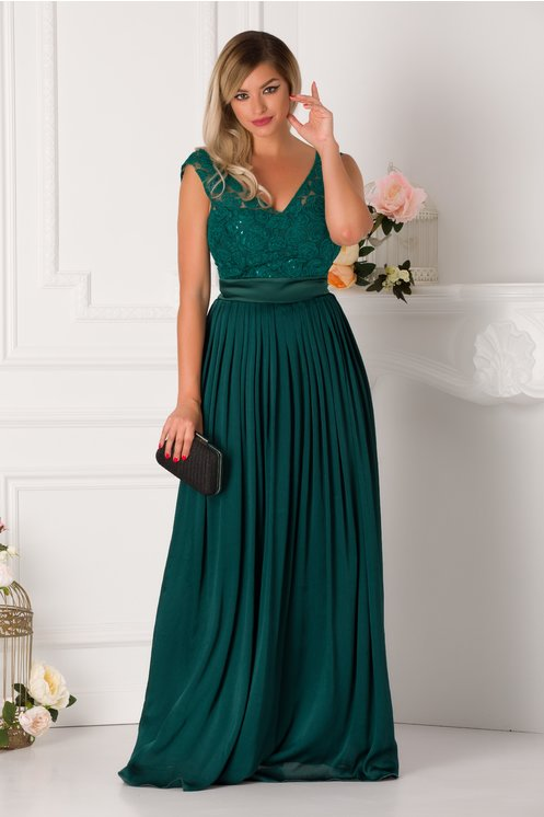 Rochie de seara lunga eleganta cu broderie la bust