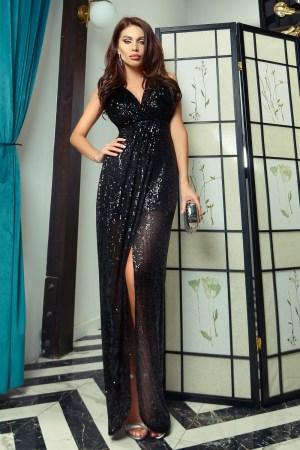 Rochie de seara lunga eleganta cu crapatura in fata