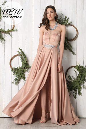Rochie de seara lunga eleganta cu insertie de tull la bust