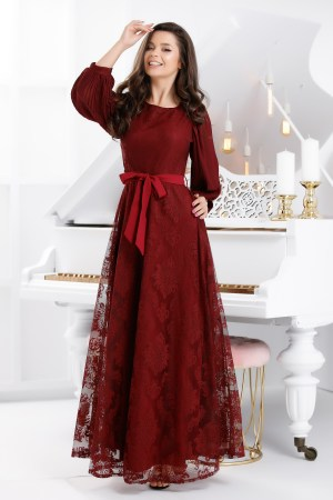 Rochie de seara lunga eleganta din dantela usor in clos