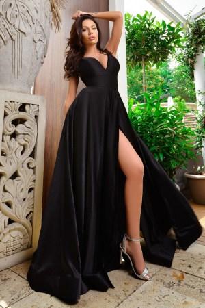 Rochie de seara lunga eleganta din satin cu despicatura adanca