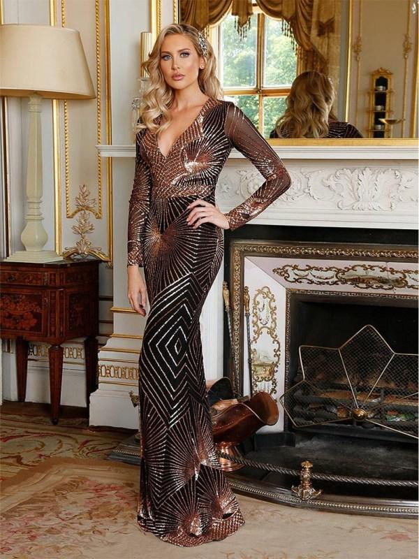 Rochie de seara lunga eleganta tip sirena cu paiete