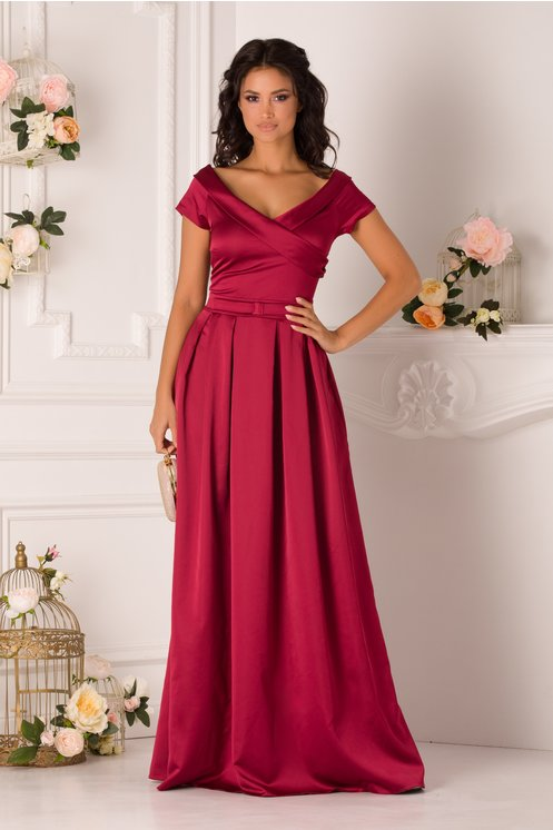 Rochie de seara si de ocazie lunga eleganta cu decolteu in v