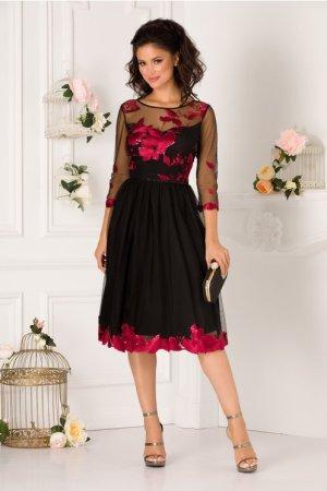 Rochie de seara si de ocazie scurta eleganta cu broderie florala bordo