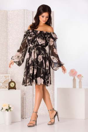 Rochie de zi de ocazie eleganta cu umeri goi si imprimeu floral