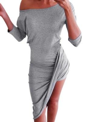 Rochie de zi de vara asimetrica umeri goi
