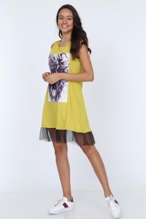 Rochie de zi de vara casual cu imprimeu mov