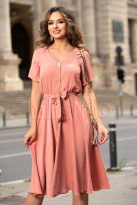 Rochie de zi eleganta de vara piersica din voal creponat