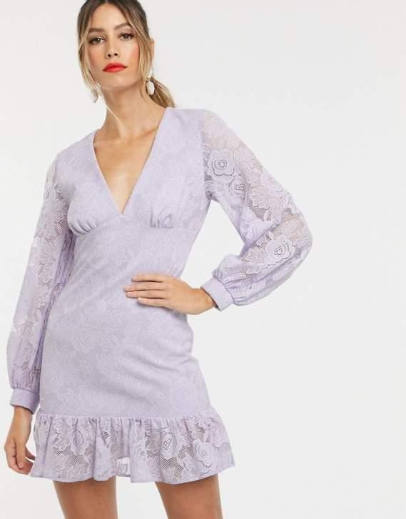 Rochie de zi eleganta din dantela cu maneci lungi si decolteu adanc