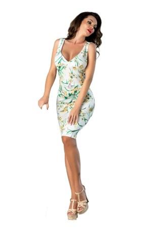 Rochie de zi eleganta midi cu decolteu in v si imprimeu floral