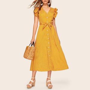 Rochie de zi midi cu imprimeu cu buline
