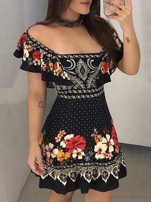Rochie de zi scurta cu imprimeu floral si decolteu patrat