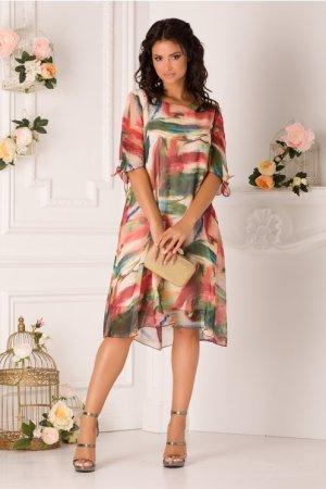 Rochie de zi scurta eleganta cu imprimeu multicolor