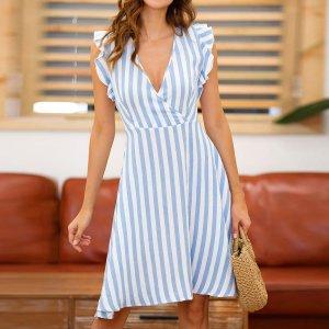 Rochie de zi si de vara cu dungi bleu
