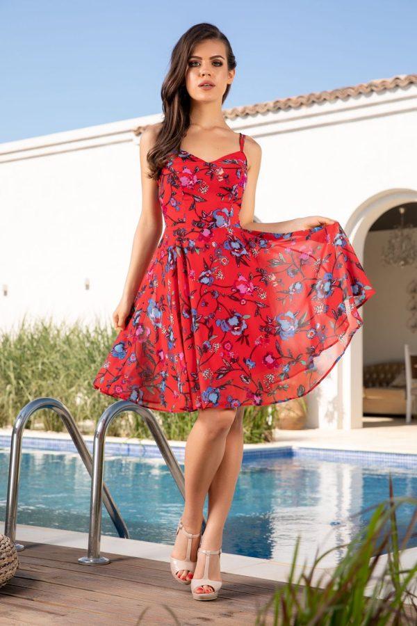 Rochie de zi si de vara scurta din voal cu imprimeu floral