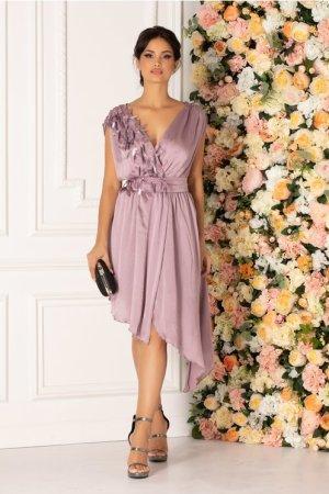 Rochie lila eleganta cu broderie si paiete la bust