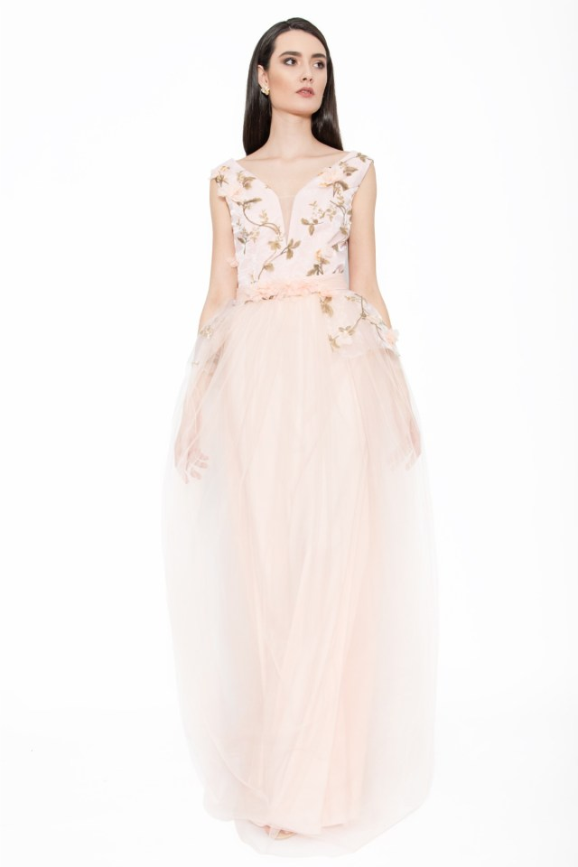 Rochie lunga de seara cu bust din organza si tull brodat floral