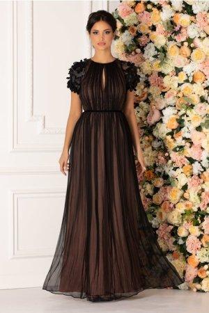 Rochie lunga neagra de ocazie cu flori 3d la maneci