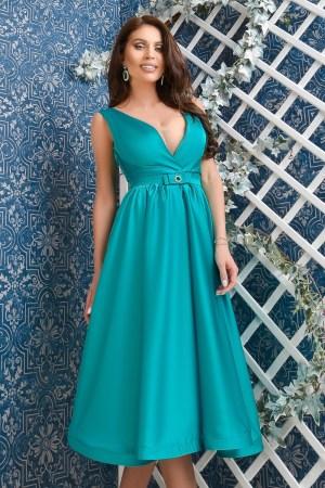 Rochie midi turquoise din satin
