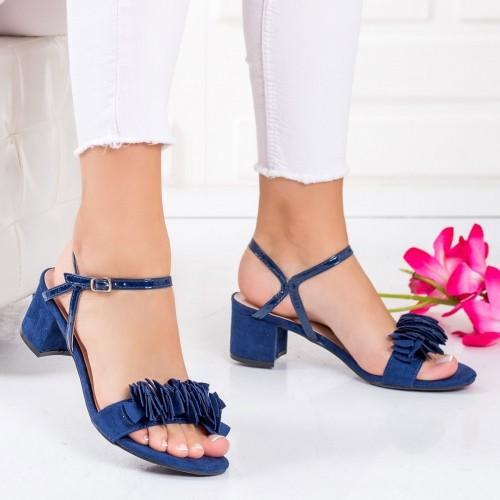 Sandale dama cu toc textil albastre