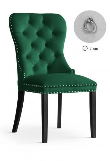 Scaun tapitat cu stofa cu picioare din lemn