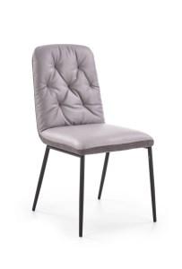 Scaun tapitat cu stofa si piele ecologica, cu picioare metalice