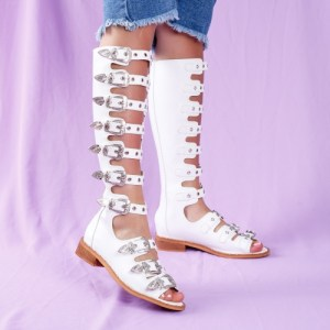 Sandale cu talpa joasa dama piele ecologica albe cu catarame Sedilia
