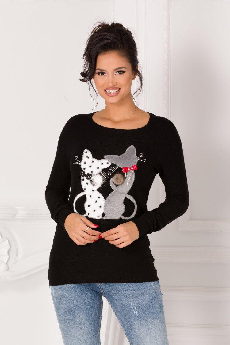 Bluza neagra casual de toamna cu textura tricotata si decolteu oval