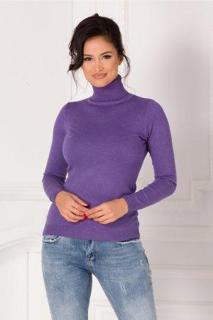 Maleta mov casual cu textura tricotata si guler la baza