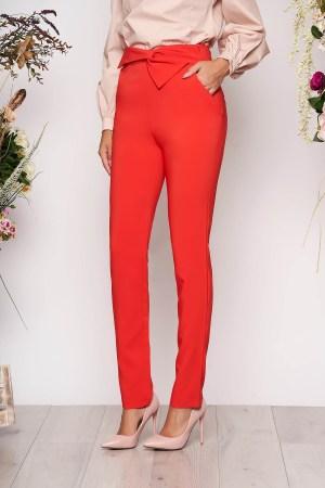 Pantaloni corai office cu talie inalta din stofa usor elastica cu buzunare