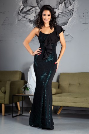 Rochie de seara eleganta accesorizata cu volane la umar