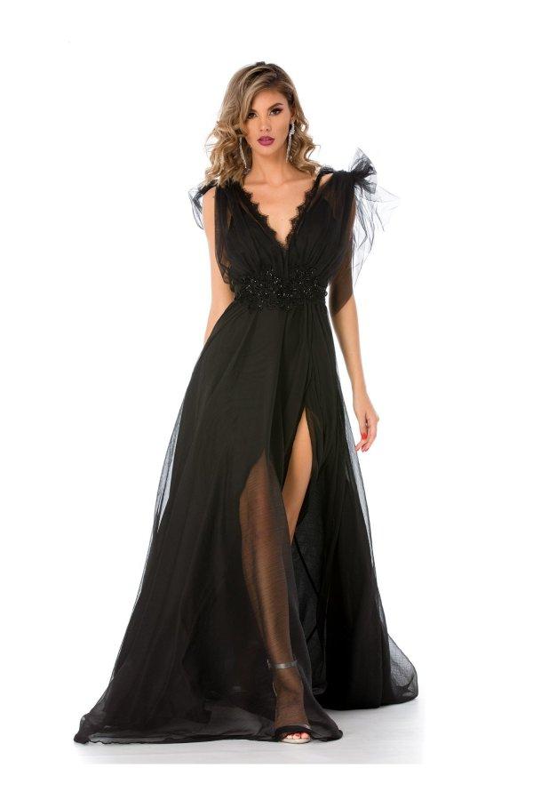 Rochie de seara lunga neagra cu broderie si margelute in talie