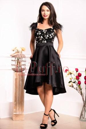 Rochie de seara neagra cu pene si flori 3D