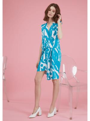 Rochie de zi de ocazie scurta cu imprimeu albastru cu alb din bumbac Celly