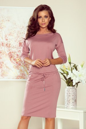 Rochie de zi office conica roz prafuit si cordon la talie