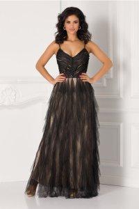 Rochie din tull negru cu bretele subtiri si decolteu adanc