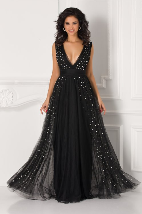 Rochie neagra lunga din tull cu perle aplicate