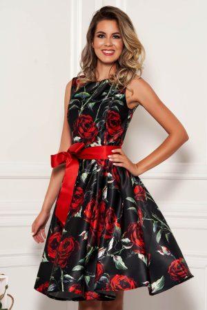 Rochie neagra midi de ocazie in clos din satin cu imprimeu floral