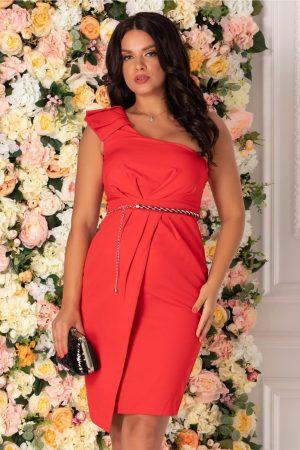 Rochie rosie eleganta cu volane pe umar