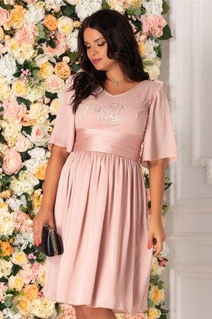 Rochie roz prafuit vaporoasa eleganta cu broderie florala