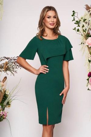 Rochie verde-inchis de zi tip creion din material elastic cu un croi mulat