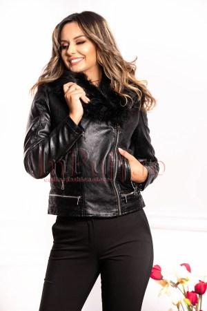 Jacheta neagra din piele ecologica cu detasabil din blana artificiala