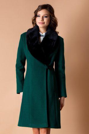 Palton dama lung verde cu guler imblanit
